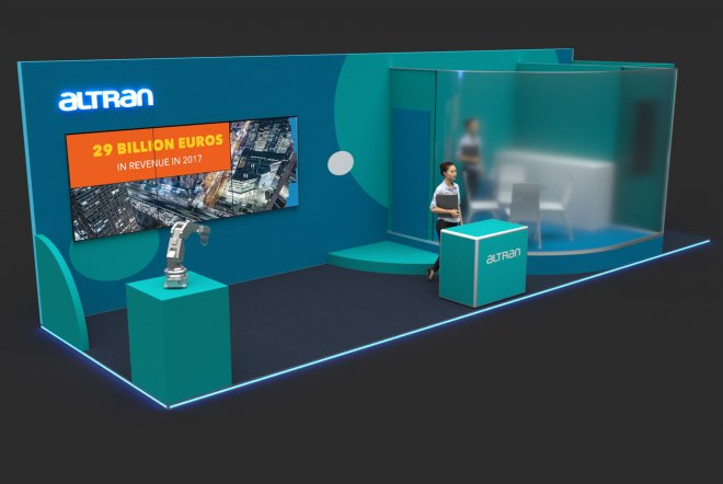 3D Render of the Altran Exhibition Stand Design by Ouno Creative, Hampshire.