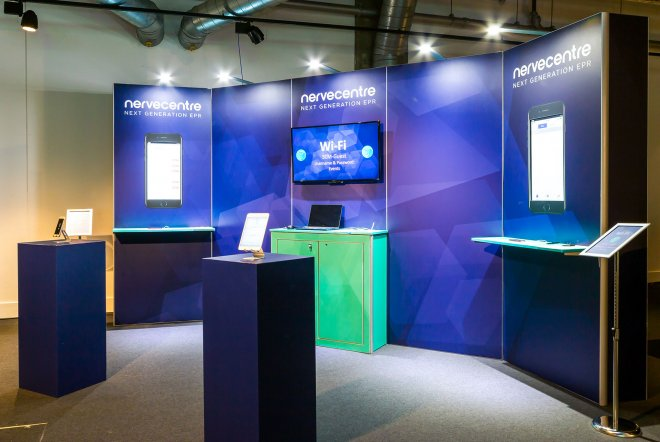Nervecentre EPR launch exhibition stand graphics including touch interfaces by Ouno Creative, Farnborough.