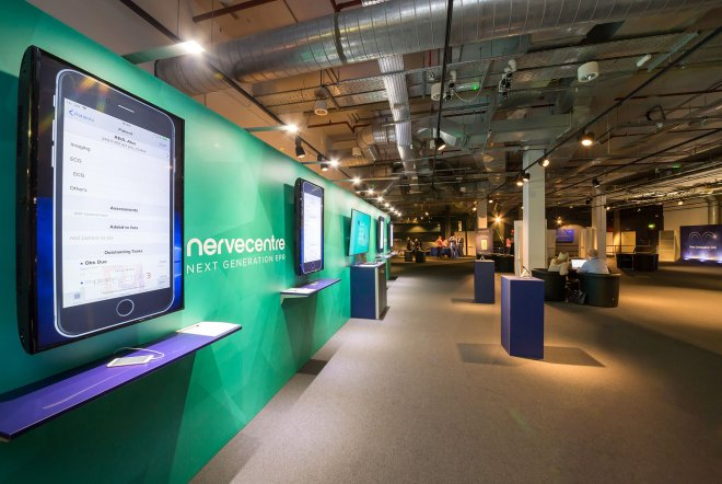 Nervecentre EPR Launch touchscreen display by Ouno Creative, Farnborough.
