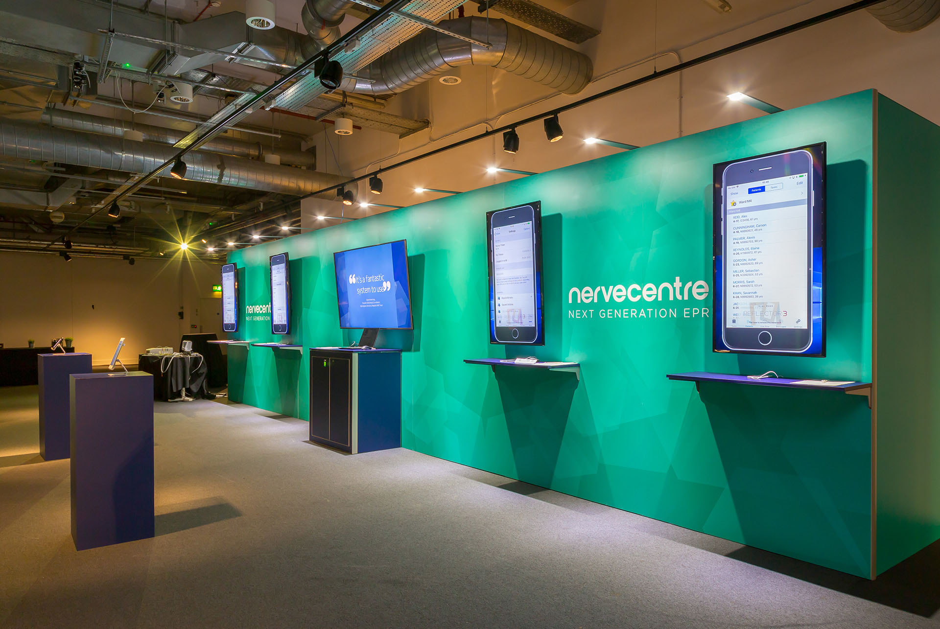 Nervecentre EPR Launch interactive exhibition display by Ouno Creative, Farnborough.