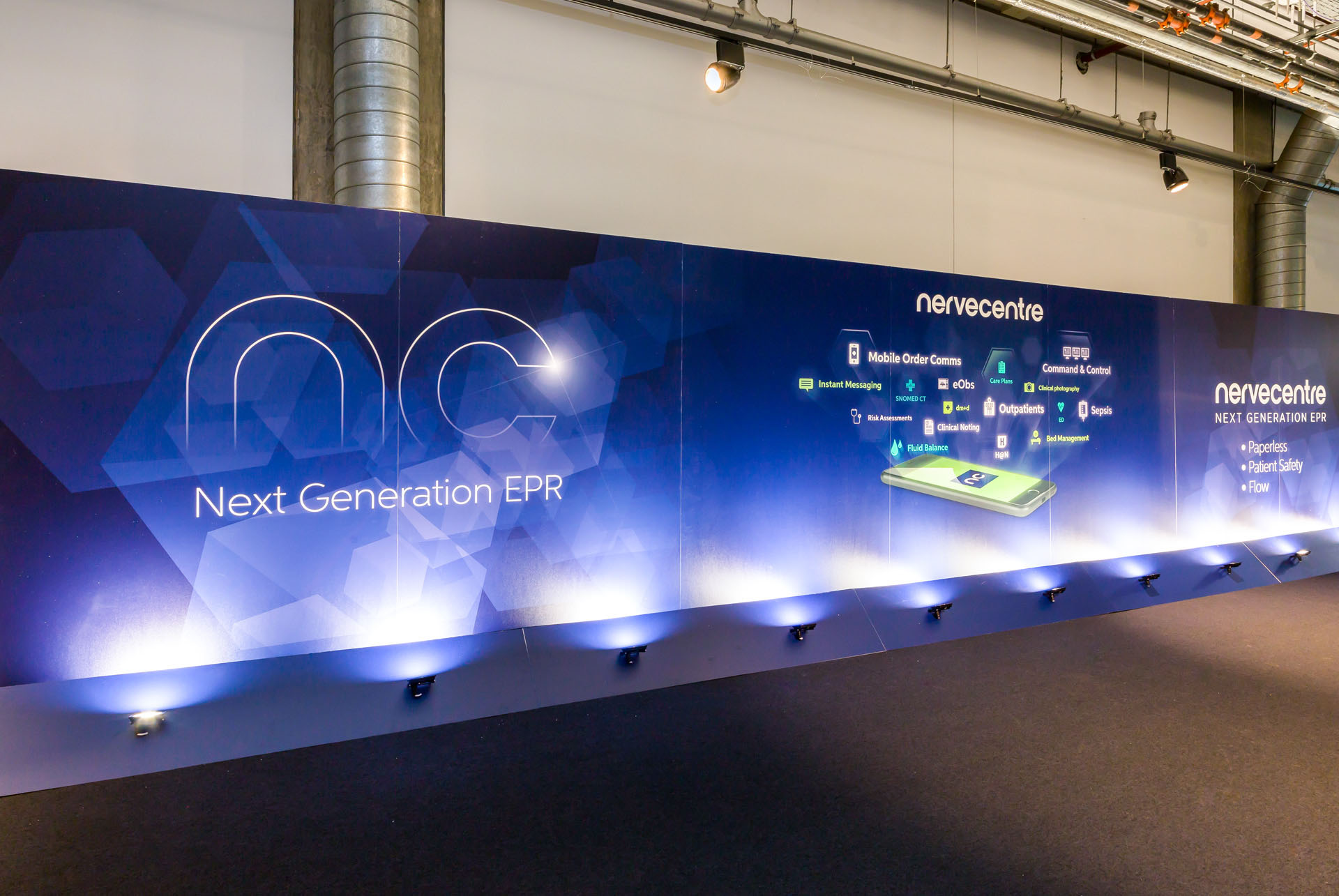 Nervecentre EPR launch exhibition stand graphics by Ouno Creative, Farnborough.