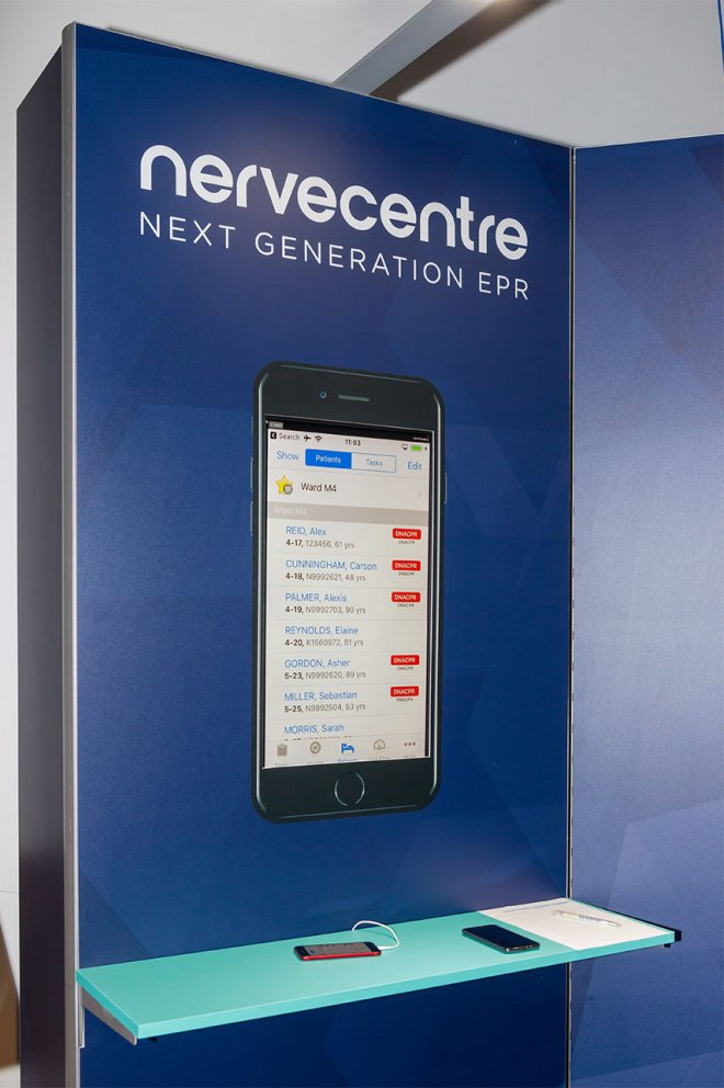 Nervecentre EPR Launch interactive app display by Ouno Creative, Farnborough.