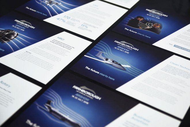 Farnborough International Airshow 2018 Info Card Design and Print by Ouno Creative, Farnborough.