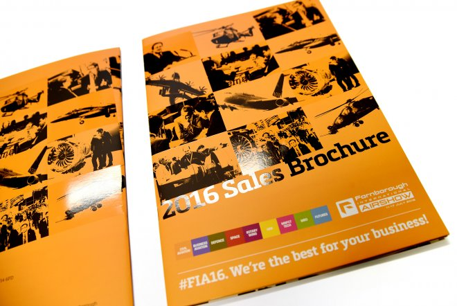 Farnborough International Airshow 2016 Sales Brochure Design and Print by Ouno Creative, Hampshire.