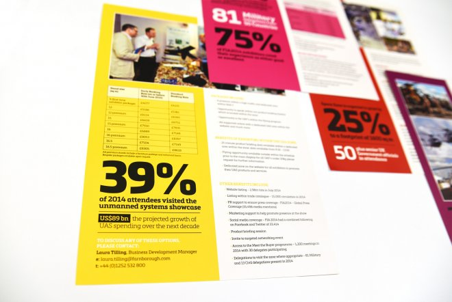 Farnborough International Airshow 2016 Infographic Card Design and Print by Ouno Creative, Hampshire.