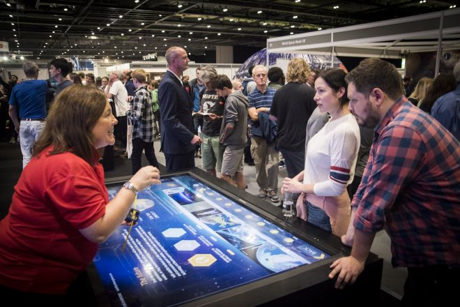 ESA New Scientist Live 2017 interactive display design by Ouno Creative, Farnborough.