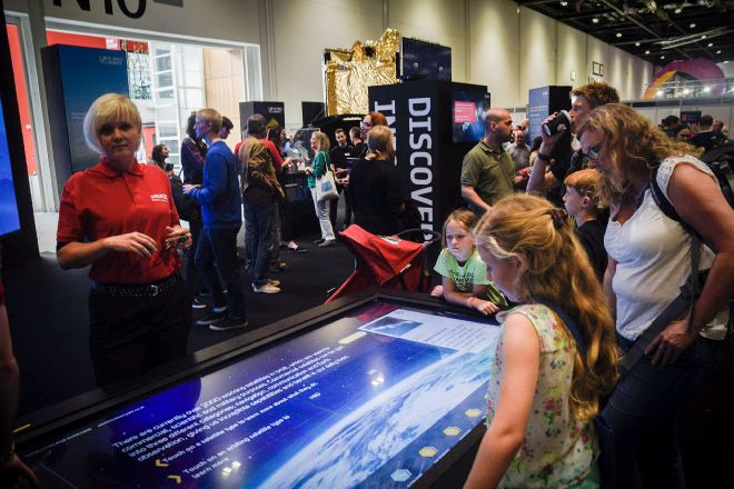 ESA New Scientist Live 2017 Interactive Large Format Touchscreen by Ouno Creative, Farnborough.