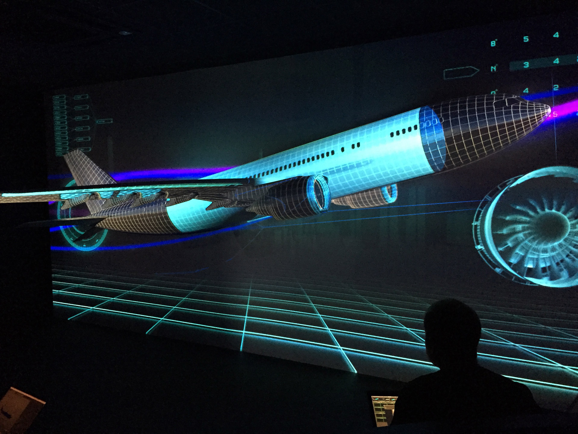 GKN Pavilion at Farnborough International Airshow 2016, 3D Projection mapping graphics by Ouno Creative, Hampshire.