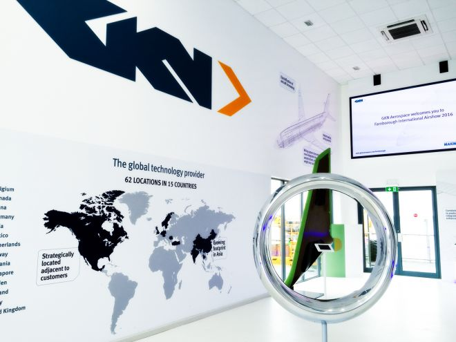GKN Pavilion at Farnborough International Airshow 2016, Exhibition Design by Ouno Creative, Hampshire.