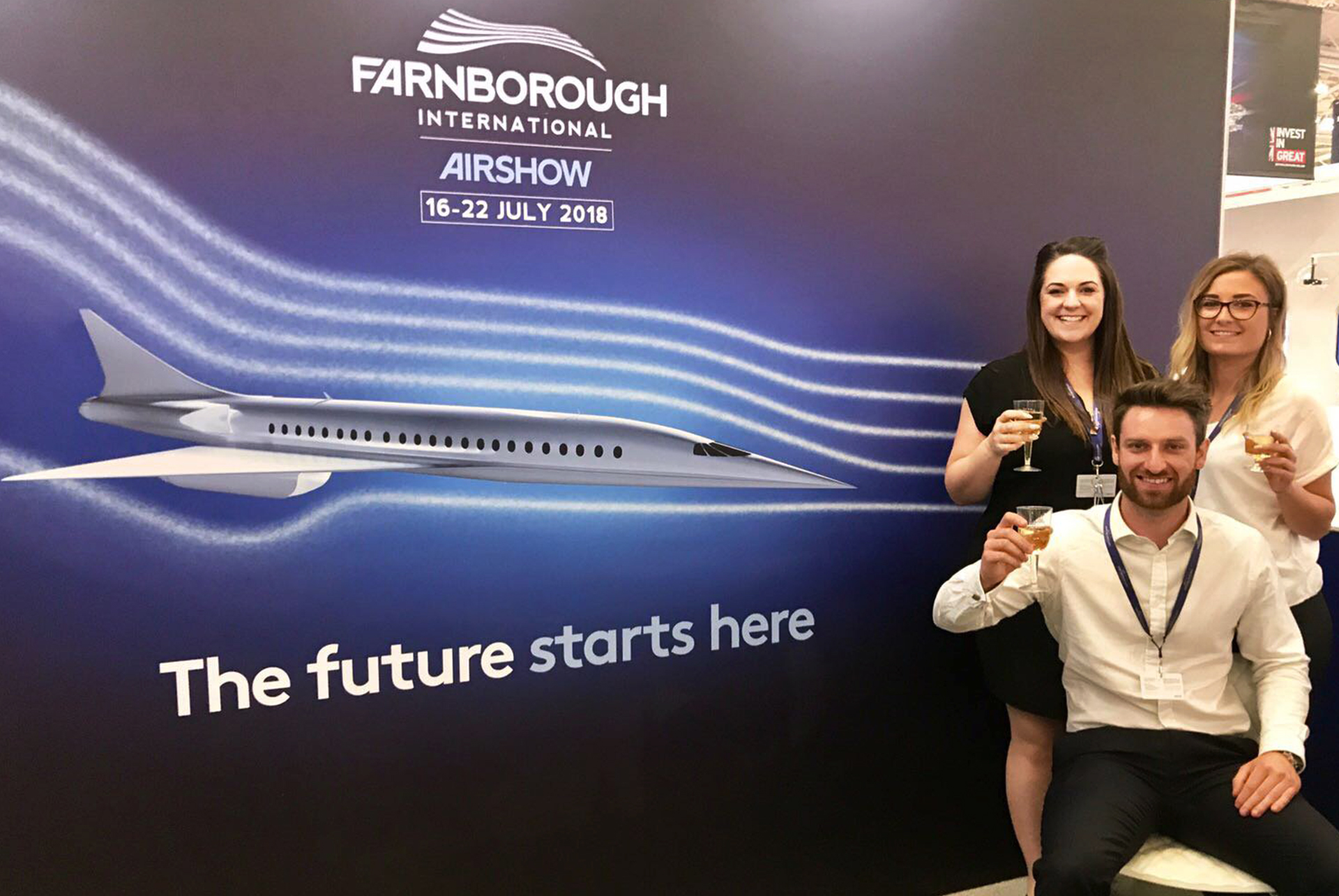 FIA Exhibition stand at Paris Airshow 2017 featuring large scale graphics by Ouno Creative, Farnborough.