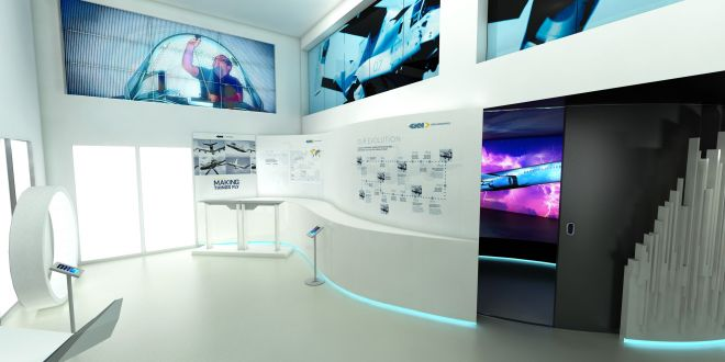 GKN Pavilion at Farnborough International Airshow 2016, Exhibition visualization by Ouno Creative, Hampshire.